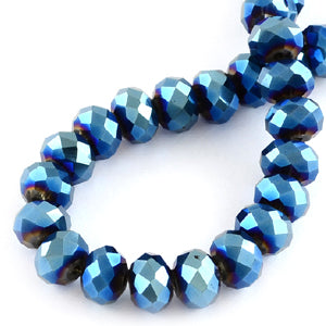 Chinese Crystal Faceted Rondelle - Blue Metallic