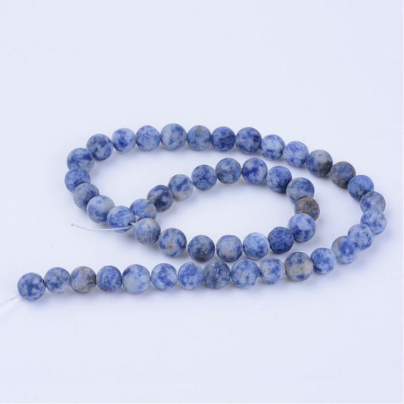 Blue Spot Stone Frosted Round 8mm