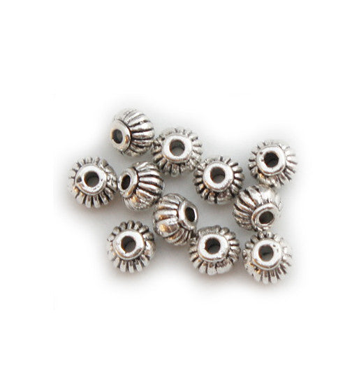 Silver Plated Brass Spacer Beads 4x5mm (100 pcs)