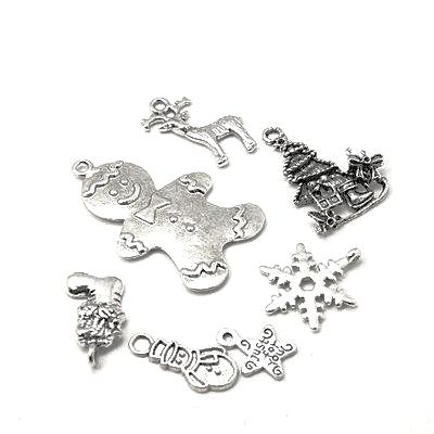 Antique Silver Mixed Christmas Charms