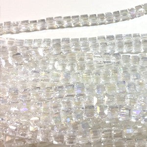 Chinese Crystal Faceted Cube 5mm - Clear