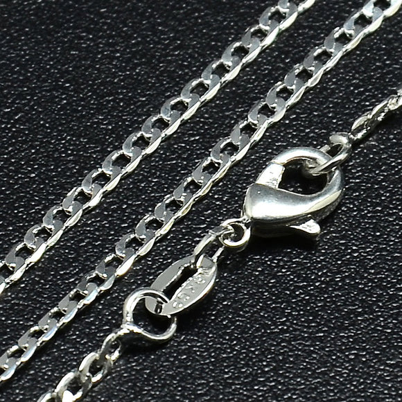 Silver Plated Brass Curb Necklace Chain 2mm 18