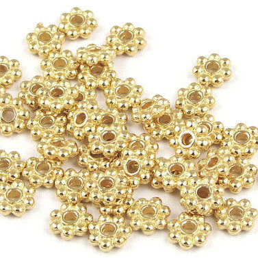 Gold Plated Daisy Spacer 4mm (300 pcs)
