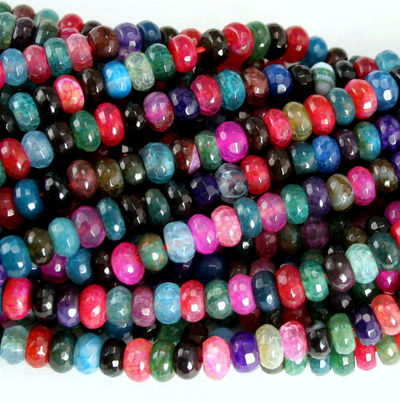 Multi-Color Dyed Agate Faceted Rondelle 6mm