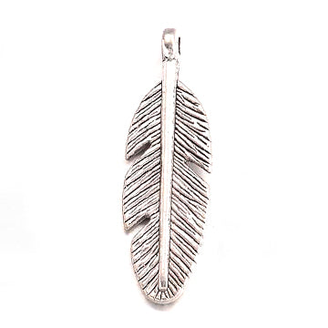 Antique Silver Feather Charm 9x30mm (20 pcs)