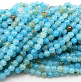 Aqua Fire Agate Faceted Round 6mm