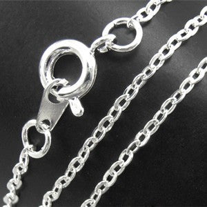 Silver Plated Brass Flat Cable Necklace Chain 1.5x2mm 18