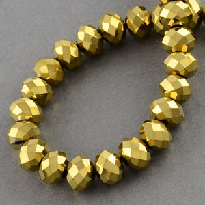 Chinese Crystal Faceted Rondelle - Gold Metallic