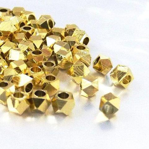 Gold Plated Brass Faceted Cube 4mm (100 pcs)