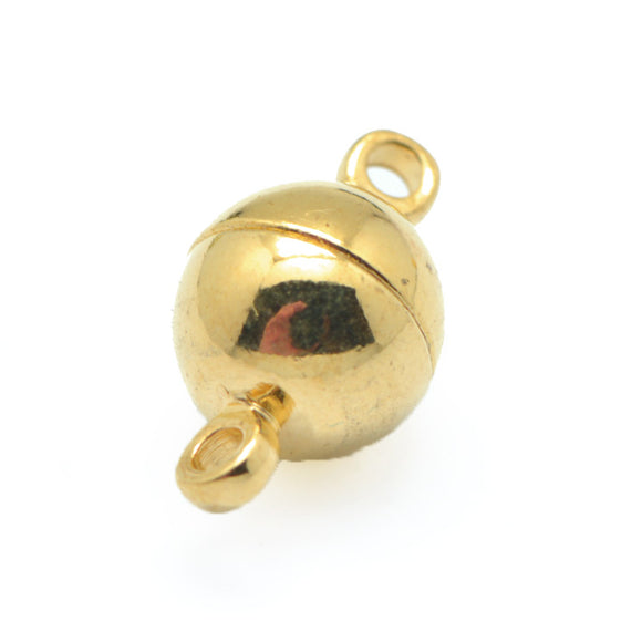 Gold Plated Brass Magnetic Ball Clasp 10mm (5 pcs)