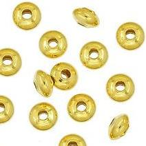 Gold Plated Saucer Bead 6x2mm (100 pcs)