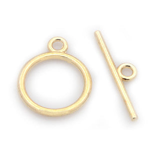 Gold Plated Brass Plain Toggle Clasp 15mm (10 sets)
