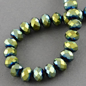 Chinese Crystal Faceted Rondelle - Green Metallic