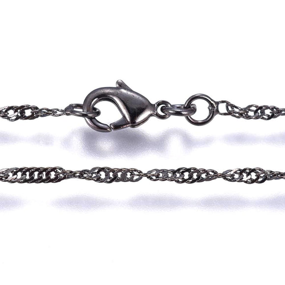 Gunmetal Twisted Curb Necklace 17