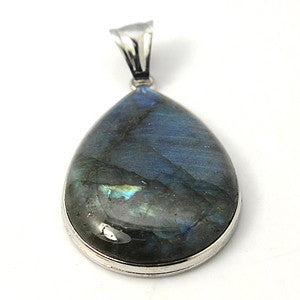Natural Labradorite Drop Pendant 47x32mm
