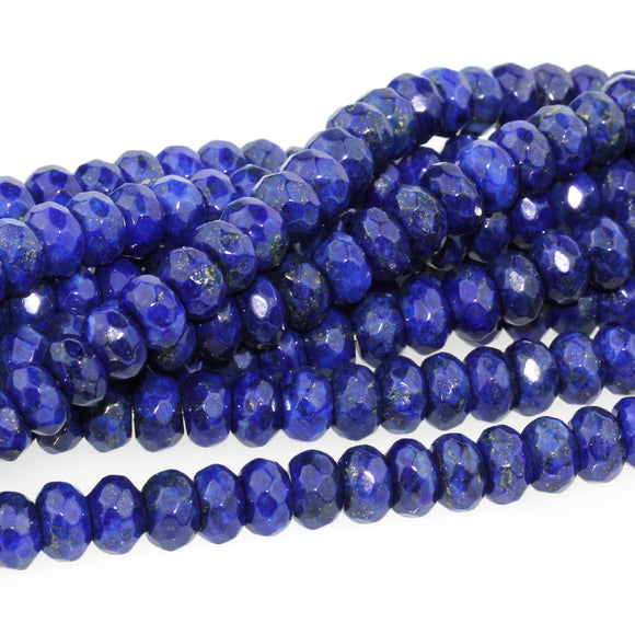Lapis Faceted Rondelle 8mm