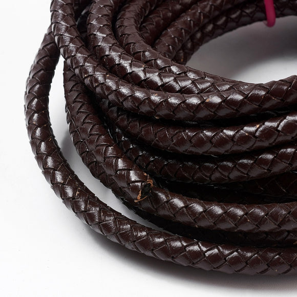 Leather Cord Braided Dark Brown 6mm (Sold by Foot)