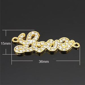 Gold Plated Rhinestone Love Connector 36x15mm