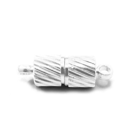 Silver Plated Brass Magnetic Twisted Tube Clasp 5x15mm (5 pcs)