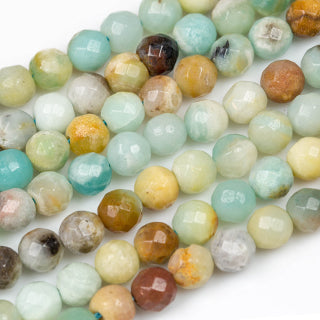 Amazonite Multi-Color Faceted Round Beads