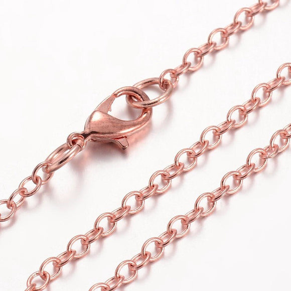 Rose Gold Plated Cable 2mm Necklace 17