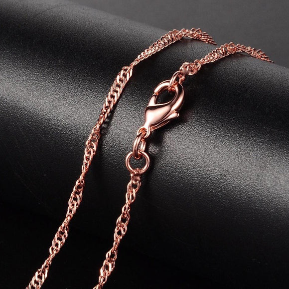 Rose Gold Plated Twisted Curb 2mm Necklace 17