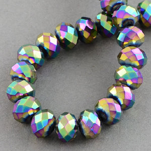 Chinese Crystal Faceted Rondelle - Northern Light Metallic