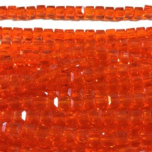 Chinese Crystal Faceted Cube 5mm - Orange