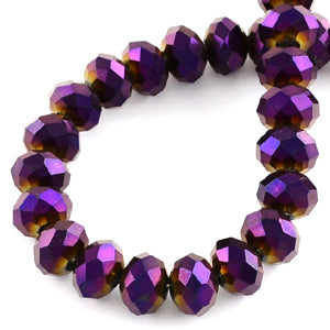 Chinese Crystal Faceted Rondelle - Purple Metallic