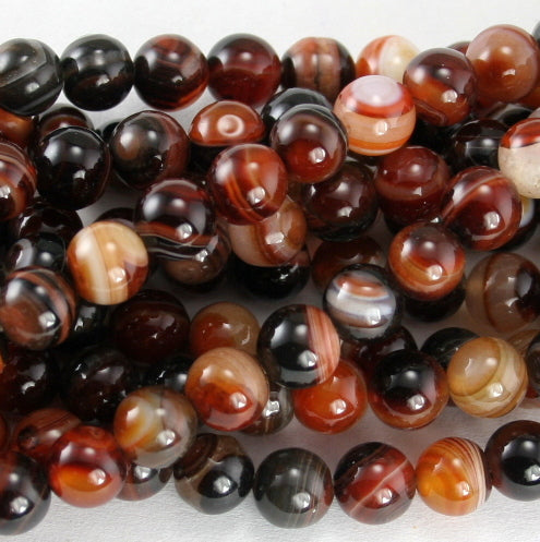 Red & Black Stripe Agate Round 8mm
