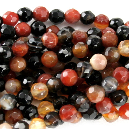 Red & Black Stripe Agate Faceted Round 8mm