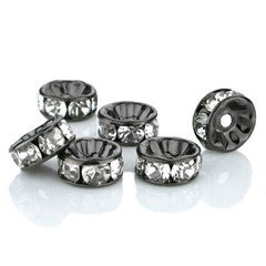 Black Rhinestone Rondelle Spacer Beads 8mm (50 pcs)