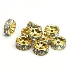 Gold Plated Rhinestone Rondelle Spacer Beads 4mm (50 pcs)