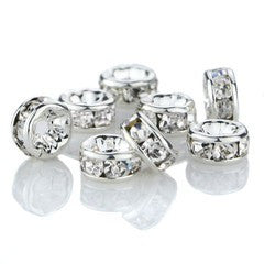 Silver Plated Rhinestone Rondelle Spacer Beads 10mm (50 pcs)