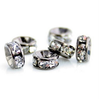 Gun Metal Rhinestone Rondelle Spacer Beads 8mm (50 pcs)