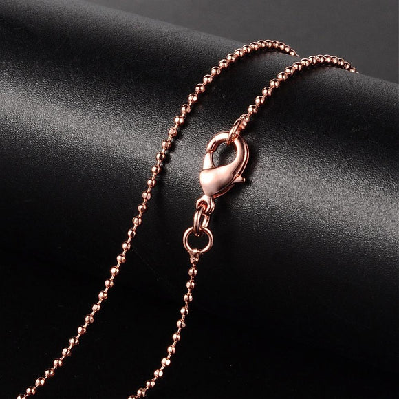 Rose Gold Plated Brass Faceted Ball 1.2mm Necklace 17