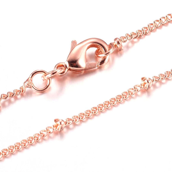 Rose Gold Plated Brass Curb w/Bead Necklace 18