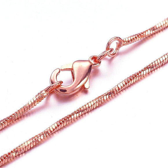 Rose Gold Plated Twisted Square Snake Necklace 18