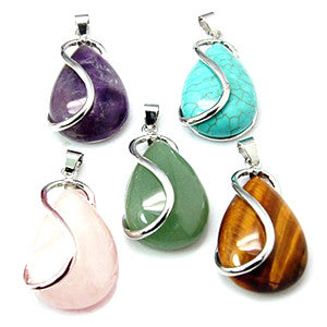 Platinum Plated Brass S-Curve Gemstone Drop Pendant 42x21x10mm
