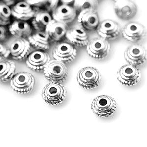 Antique Silver Saucer Spacer 5x3mm (100 pcs)