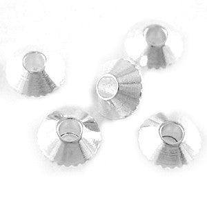Silver Plated Brass Faceted Saucer Spacer 4mm (100 pcs)