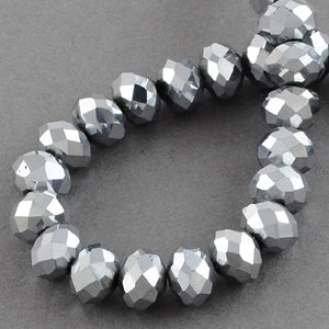 Chinese Crystal Faceted Rondelle - Silver Metallic