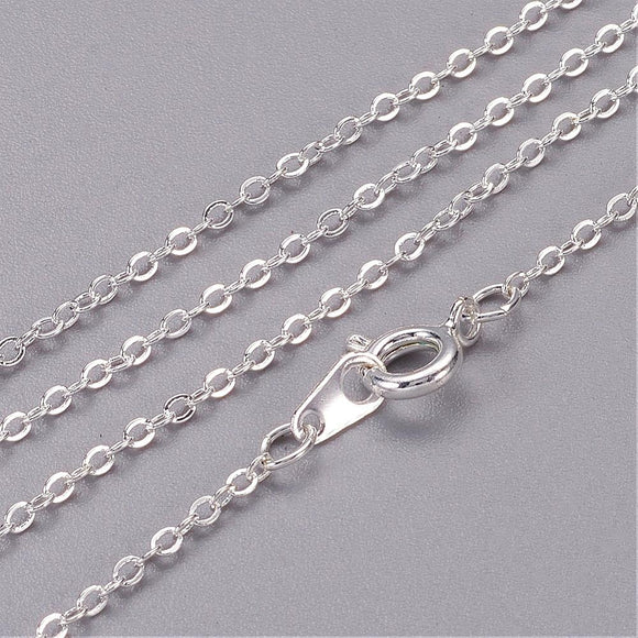 Silver Plated Brass Flat Cable Necklace Chain 1.5x2mm 20