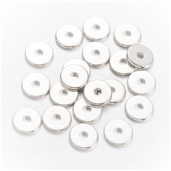Silver Plated Brass Disc 6x2mm (100 pcs)