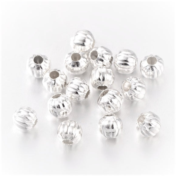 Silver Plated Brass Corrugated Round Bead 5mm (100 pcs)