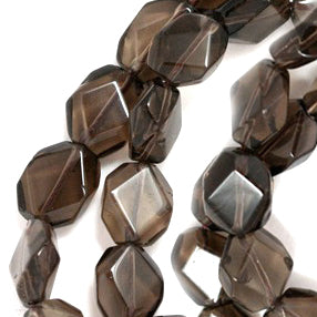 Smoky Quartz Flat Tumble Faceted Nugget 13x18mm