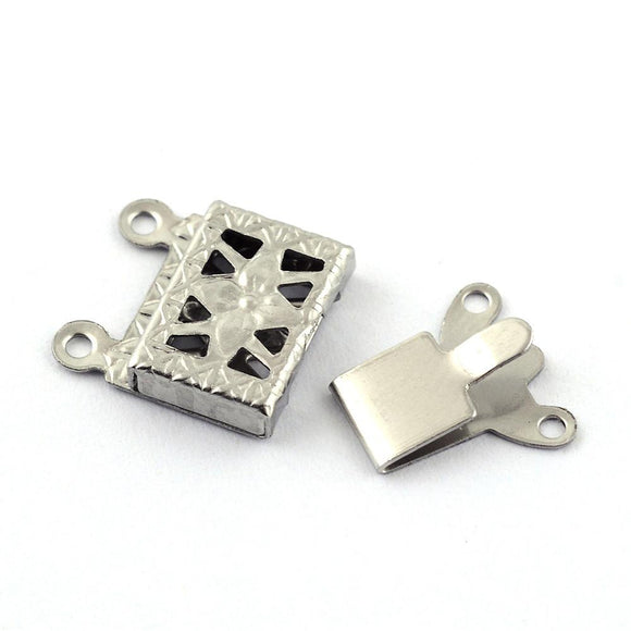 Stainless Steel Rectangle Box Clasp 2 Loops 10x15mm (5 pcs)