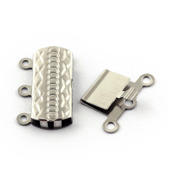 Stainless Steel Rectangle Box Clasp 3 Loops 15x20mm (5 pcs)