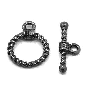 Black Pewter Twist Toggle Clasp 14mm (10 sets)