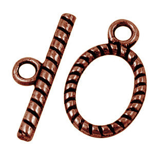 Antique Copper Oval Toggle Clasp 13x16mm (10 pcs)